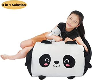 Panda Stuffed Animal Bean Bag Toy Storage,Large Size Stuffie Organization 24x24 Inch Velvet Extra Soft Replace Mesh Toy Hammock for Kids Toys Blankets, Towels & Clothes Household Supplie