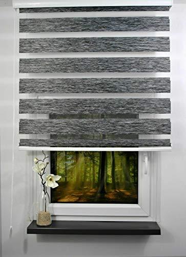 Duo Rollo Doppelrollo Farbe dunkel grau meliert Breite 200 cm Länge bis 250 cm abrollbar mit breiter Beschwerung geschlossener Kassette Kettenzug Alternative zu Gardine oder Plissee (200)
