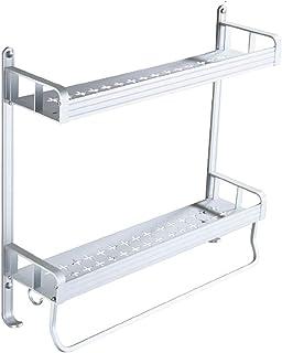 TEERFU - Estantería de pared para la ducha con 2 estantes de acero inoxidable con ganchos, organizador de ducha.