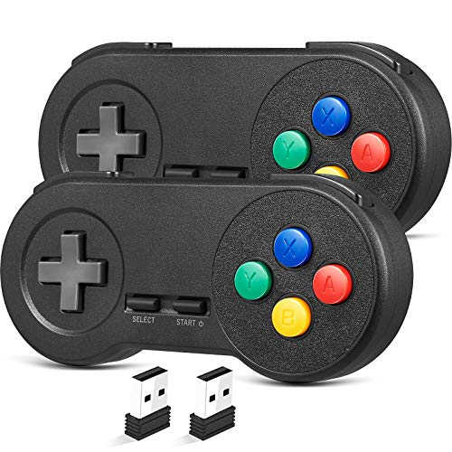 (2 Pack) 2.4GHz Wireless USB SNES Style Controller Compatible with...