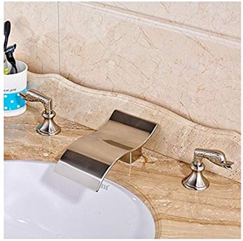 Wasserhahn Moderne Mischbatterie Waschtisch-Mischbatterie Zeitgenssische Waschtisch-Mischbatterie Mit Zwei Einzigartigen Design-Griffen Nickel Gebürstet