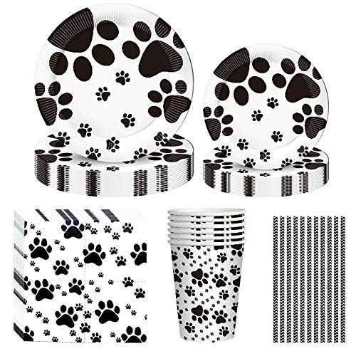 Dog Paw Prints Party Supplies, 60PCS Dog Disposable Tableware with Dog Paw Prints Plates Cups Napkins Serves 10 for Dog Birthday Theme Party Decorations