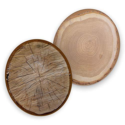 itenga 40x Bierdeckel Untersetzer aus Pappe I Baumscheiben Holz I Braun I rund, Ø 10,7 cm I ideal als Untersetzer bei Anlässen und Festlichkeiten