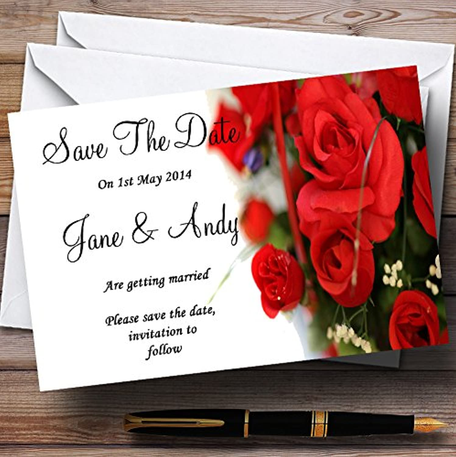 Romantic Red pinks Personalised Wedding Stationery Save The Date Cards
