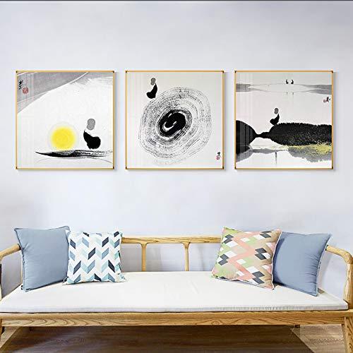 Cuadro en Lienzo Estilo Chino Zen Canotaje Pintura en Lienzo Tradicional Impresión en Negro y Gris Decoración de Pared 3 Piezas 50x50 cm / 19.7