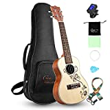 Hricane Concert Ukulele 23 Inch Spruce Flower Top Sapele Professional Ukuleles for Beginners with Bag, Digital Tuner, Strap, 4 Strings Set, Pick, Cleaning Cloth