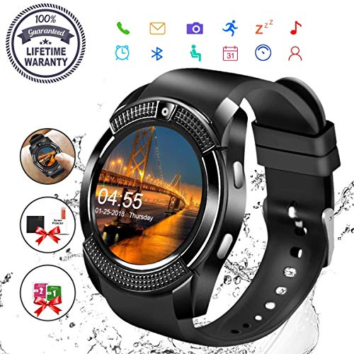 Smartwatch,Android Sport Smart Watch Donna Uomo Orologio Smartwatch Android con SIM Card Slot Fotocamera Orologio Intelligente Phone Watch Sport Tracker di Fitness per Samsung Huawei Bambini Nero