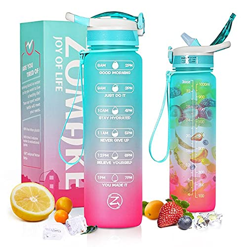 1L / 32oz Motivational Bottle of Water with Straw & Time Marker, LeakProof & BPA Free Water Bottles Fruit Infuser for Fitness