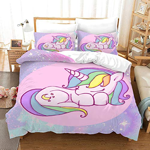 Duvet Cover Set Single(55x78.7 inch) Pink cartoon unicorn Bedding Printed Ultra Soft Hypoallergenic Microfiber with Zipper Closure + 2 Pillowcases 20x29.5 inch