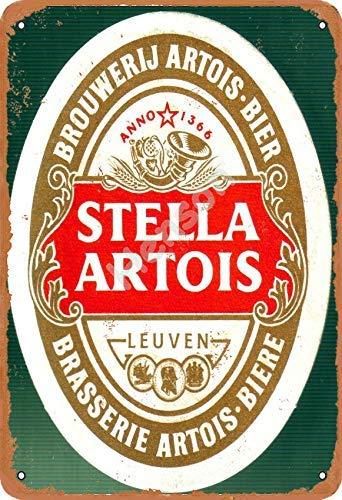 Stella Artois Birra pubblicit/à Bar Vecchio Pub Bevande Pompa Distintivo Brewery Botte Keg Draught Real Ale Pinta Alcool Luppolo Forma Metallo//Targa da Parete in Acciaio 27 x 20 cm