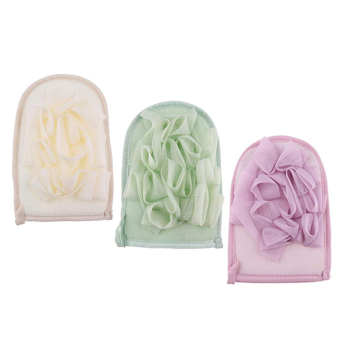 宿命同様のシャイsharprepublic 3個 両面バスミット ボディースポンジ シャワーブラシ 入浴用品 角質除去 ユニセックス