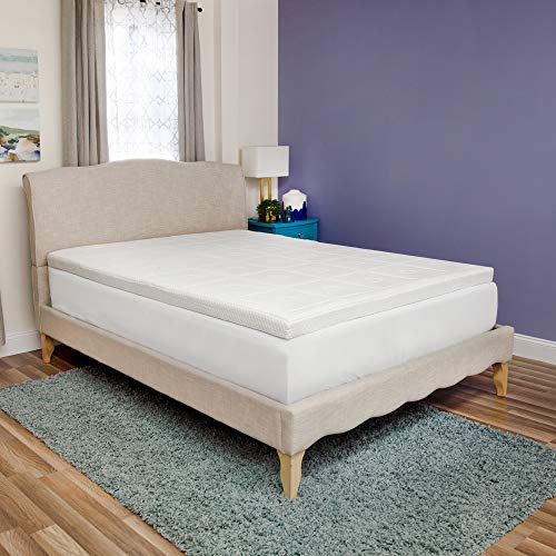 SensorPEDIC Luxury Extraordinaire 3-Inch Quilted Memory Foam Mattress Topper, Queen Size, White