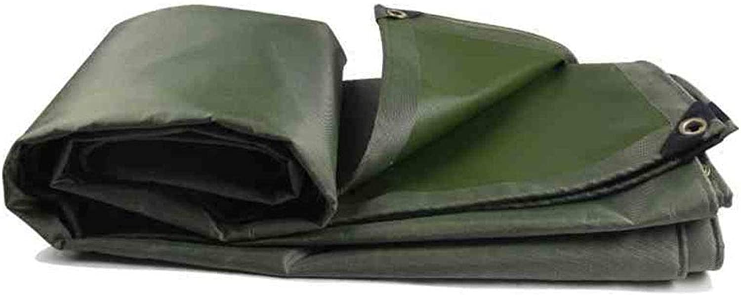 QFFL pengbu Tarpaulin, Sunshade Waterproof AntiAging WearResistant Thick Poncho, Outdoor Truck Tricycle Shed Cloth, ArmyGreen Grey (Size Optional) (color   Green, Size   4m5m)