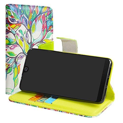 LiuShan Wiko View 2 Pro Hülle, Brieftasche Handyhülle Schutzhülle PU Leder mit Kartenfächer & Standfunktion für Wiko View 2 Pro (6 Zoll) Smartphone (mit 4in1 Geschenk verpackt),Love Tree