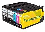 Sumedtec 950XL 951XL Reemplazo Compatible para 950 951 Alta Capacidad Cartuchos de Tinta Totalmente Compatible con Officejet Pro 8600 Plus 8600 8610 8620 8630 8640 8660