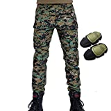 H World Shopping Military Army Tactical Airsoft Paintball Shooting Pants Combat Men Pants with Knee Pads Digital Woodland (M)