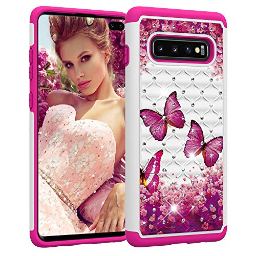 Galaxy S10 Plus Case, S10+ Cover Ithuriel Cute Diamond Bling Luxury Glitter Sparkle Rhinestone Crystal Hybrid Dual Layer Covers for Galaxy S10 Plus Cases Red Butterfly