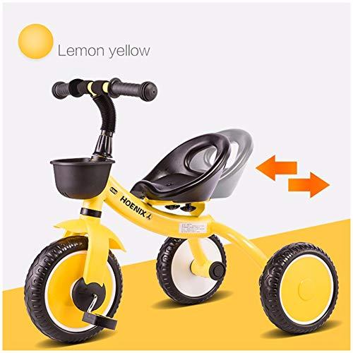 4 En 1 Toldo Rueda De Goma Triciclo para Ni/ños Carro De Bebe con Freno 1-6 A/ños,A con Manillar Extra/íble GSDZSY