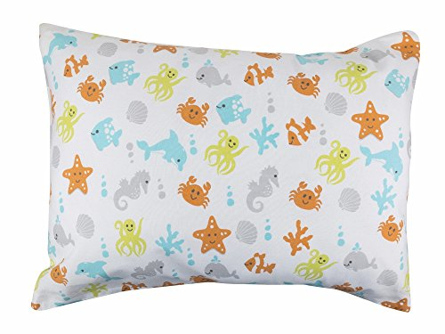 BB MY BEST BUDDY Toddler Kids Pillowcases for boys and girls - 100% cotton - Ocean Animals educational design - 13 x 18 shrinks to fit -envelope style closure - designed in USA - machine washable soft
