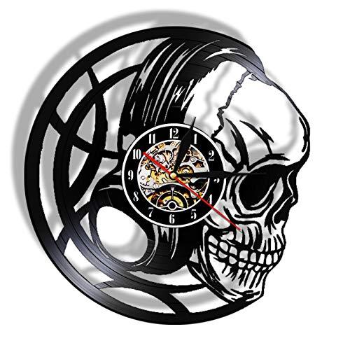 XYLLYT Auriculares de Calavera Malvada Reloj de Pared con Disco de Vinilo Relojes de Calavera Negra Reloj de Pared de Cuarzo Art Deco Negro Regalos para Hombres