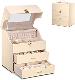 Jewelry Box Jewellery Box Organiser Necklace Watch Box Jewelry Storage Box/Gift (Color : Beige, Size : 29.4 * 25.5 * 18.2cm)