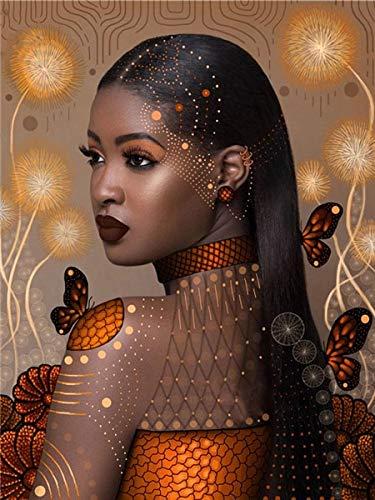 5D pintura de diamantes mujer africana diamantes de imitación bordado de diamantes punto de cruz retrato mosaico decoración A3 40x50cm
