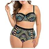 LANSKIRT Mujer Conjunto de Bikini Dos Piezas Tallas Grande Figura Geométrica Bañadores Sexy Trajes de Baño para Gorditas Vikinis Baño Playa Bañador Ropa de Playa Verano Elegante L-4XL