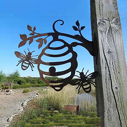 LIULIU Metal Bee Hive Garden Decor, Metal Beehive Garden Gift,Bee Hive Garden Decor Iron Silhouettes,Tree Plug-in Ornament,Bumble Bee Steel Tree Branch Cute Hollowed Out Garden Hive Statue