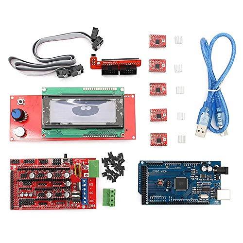 ChenYongPing Función Placa Base de Impresora 3D, Kit de Impresora 3D con rampas 1.4 + A4988 + Mega2560 + Controlador 2004LCD (Color : Red, Size : One Size)