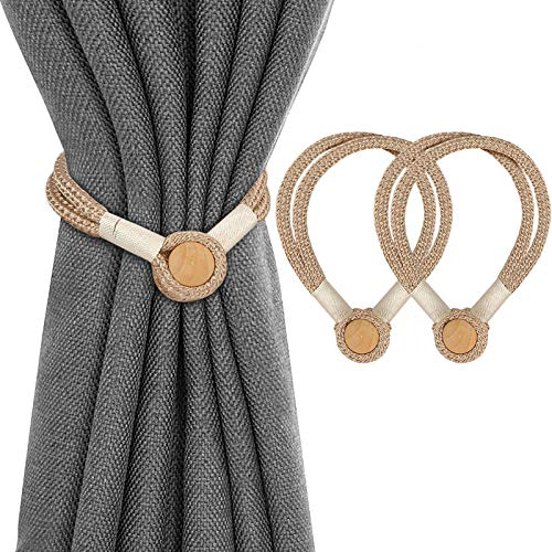 Magnetic Curtain Tiebacks Clips, Drape Tie Backs Weave Rope Holder with Unique Wooden Balls for Window Drapery, Convenient Curtain Decorative Drapery Holdbacks for Home Kitchen Office Cafe- 2 Pack