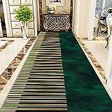 LHYZF Coureur de Tapis Moderne pour l'entrée d'entrée de Couloir,Largeur 60cm /80cm/100cm/120cm,Couleurs de Tapis Longs Longs,Longueur Personnalisable -Vert/Noir (Size : 70x300cm)