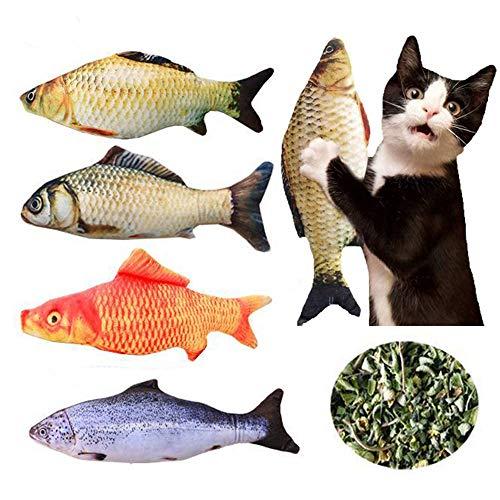 ENCO 4 Pieza Juguetes Catnip, Almohada de Pez Gato, Cat Catnip Toys, Limpieza de Dientes, para Gato, Cachorro, Perro, Almohada de Gato, Juguetes Interactivos para Gatito