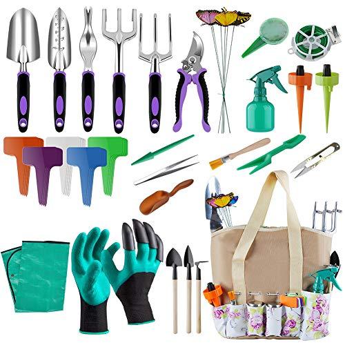 Blibly Garden Tools Set, 50 Pieces Garden Tools Suit with Storage Pocket, Outdoor Tool, Heavy Duty Gardening Work Set with Ergonomic Handle, Gardening Tools for Women Men