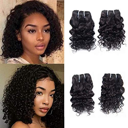 Brazilian Virgin Human Hair 4 Bundles Water Wave Weave Unprocessed Remy Hair Extensions Wet And Wavy 8A Grade Natural Black Color 12 Inch 50g/Bundle