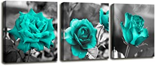 Wall Decor for Bedroom 3 Piece Canvas Wall Art Blue Rose Flowers Pictures Prints Black and White Painting Framed Artwork Ready to Hang for Bathroom Living Room Kitchen