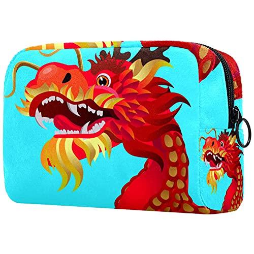 Dragon Blue - Bolsa de maquillaje para bolso de viaje, organizador de cosméticos, portátil, versátil, con cremallera, para mujeres y niñas