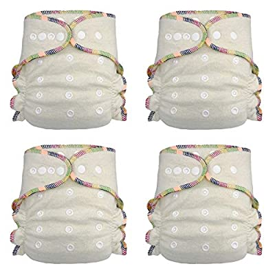 Fitted Cloth Diaper: Overnight Diaper with 2 Cotton Hemp Inserts, One Size with Snap Buttons (4-pack)