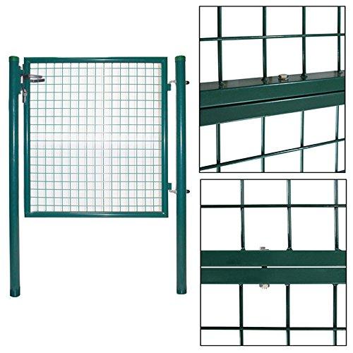 MCTECH® - Cancelletto da giardino, porta da giardino doppia, per recinzione del giardino, inclusaserratura, misura 100x 100 cm, porta singola da giar