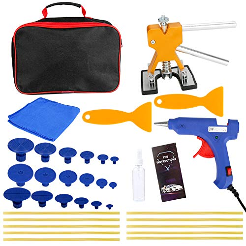 Brynnl Auto Dent Puller Kit de reparación de abolladuras sin Pintura para automóviles Incluye 36 Piezas de Accesorios con Pistola de Pegamento termofusible y Varillas