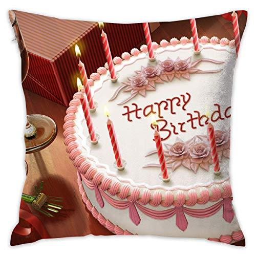 qidong Throw Pillow Cover Birthday Cake Bed Sofa Pillow Case Sleeping Pillow Soft Cushion 18' X 18'