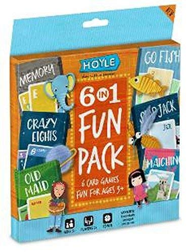 Hoyle 6 in 1 Fun Pack Kids Playing Cards Games Go Fish Crazy 8s Old Maid Slapjack