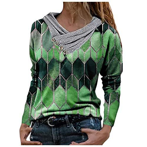VEMOW Camisas Mujer Nuevo Blusas para Mujer Sexy Tops Camisetas Camisa Manga Larga, 2021 Novísimo Elegantes Estampado Suelta Sudadera Tapas Geométrico Botón Cuello en V Baratas Tapas(G Verde,L)