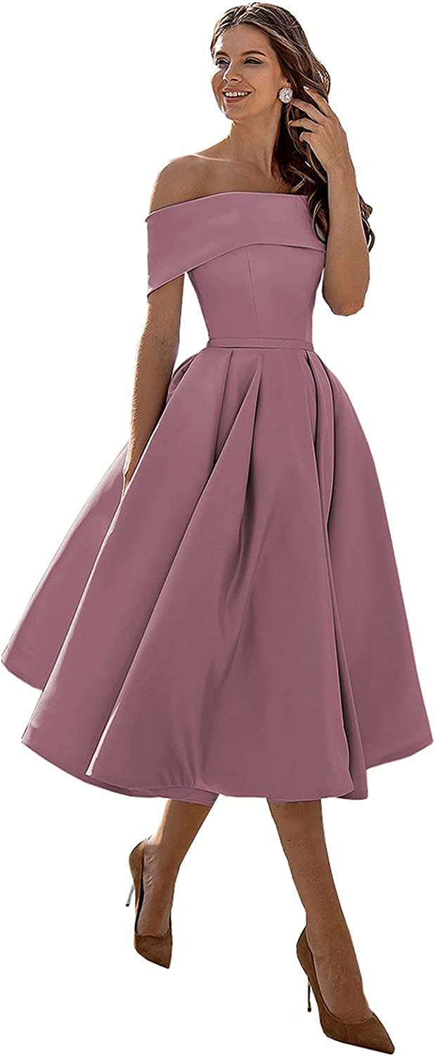 unisex Ufashion Women's 2021 new Off The Shoulder Satin Prom Dress Pockets with