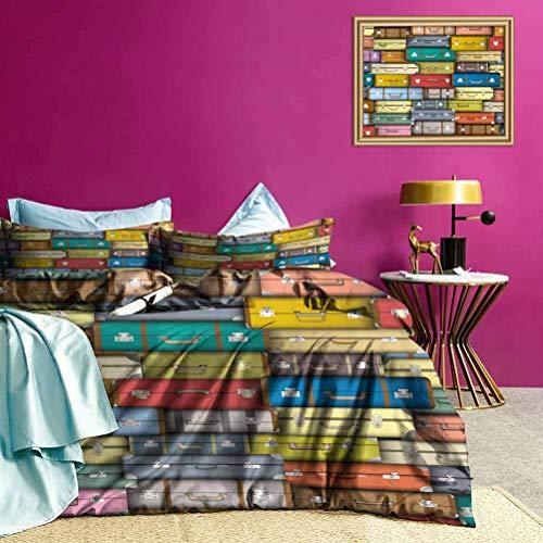 Adorise Cama de Tres Piezas Viajes Funda nórdica de Color Maleta Ligera Consolador Caso Conjunto para el hogar, Hotel Collection - Tamaño Twin