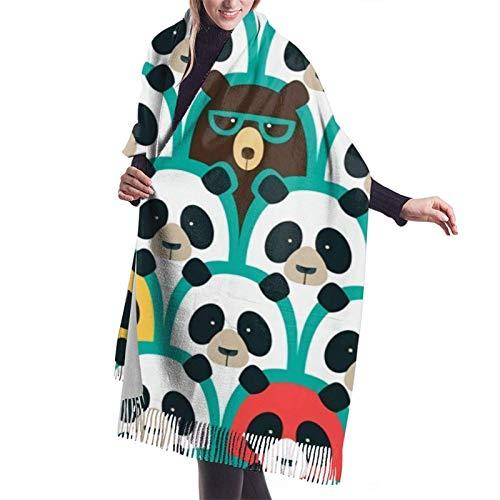 shenguang, verde, blanco y negro, Panda, gafas de sol, cachemir, chal grande, invierno, grueso, cálido, bufanda, chal
