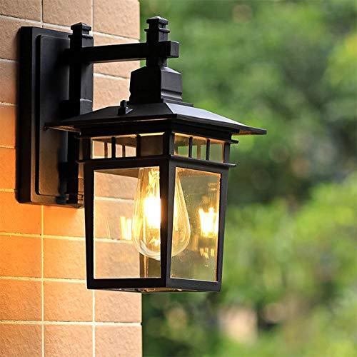 Antik Außen-Wandleuchte Vintage E27 Schwarz Aluminium Gartenlampe Retro Rustikal Wandlampe Aussen mit Glasschirm Aussenleuchte Wasserdichte IP23 Foyer Balkon Villa Fassadenlampe,18*23*31CM
