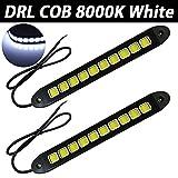 Taben 2PCS/set 800LM impermeabile IP67gomma morbida flessibile 12V in Slim chip COB LED DRL Daylight guida luce luci diurne per auto veicolo universale bianco