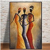 ファッションキャンバス絵画 アフリカの女性の肖像画抽象ポスターやリビングルームのためのプリントスカンジナビアキャンバスアートウォールピクチャー (Color : Lye1461, Size (Inch) : No frame 40x60cm)
