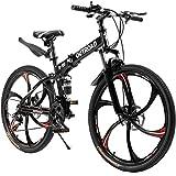 Outroad Folding Mountain Bike 6 Spoke 21 Speeds 26 inches Wheel Double Disc Brake Full Suspension Anti-Slip MTB, Black