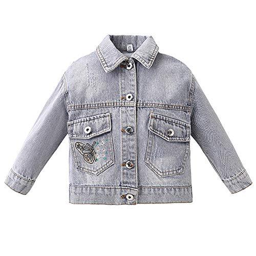 L SERVER Niñas Jeans Chaqueta Abrigo Niños Chaqueta de Mezclilla Moda Casual Primavera Corta, Mariposa, 9-10 años Etiqueta 140